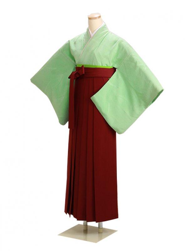 卒業式袴 正絹 薄緑 25 エンジ袴【身長155cm位】