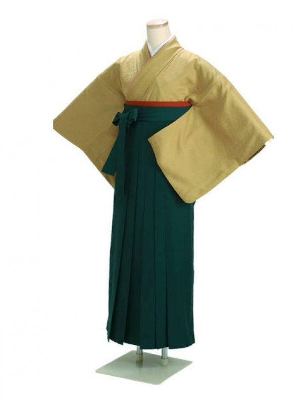 卒業式袴 正絹 カラシ 87 緑袴【身長150cm位】