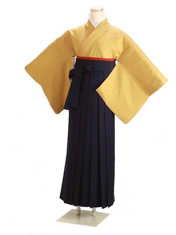 卒業式袴 正絹 カラシ 79【身長150cm位】