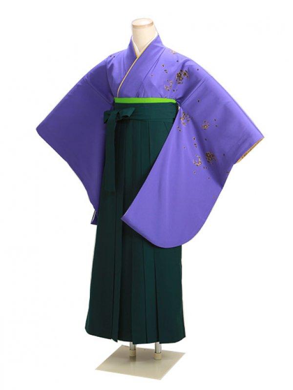 卒業式袴 紫 桜 0225 緑袴【身長150cm位】
