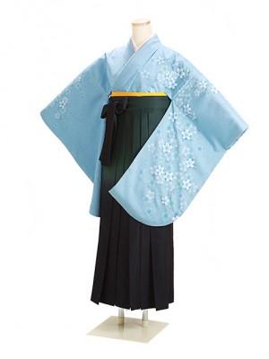 卒業式袴 ブルー 桜 0262 柄袴【身長160cm位】