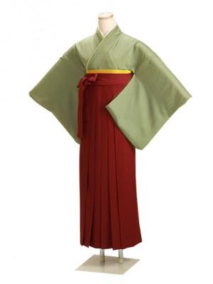 卒業式袴 正絹 グリーン 83 エンジ袴【身長150cm位】