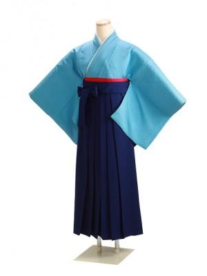 卒業式袴 正絹 濃ブルー 74 花紺袴【身長155cm位】