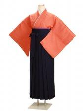 卒業式袴 正絹 オレンジ 38【身長150cm位】