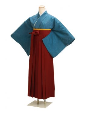 卒業式袴 正絹 ブルー 23【身長160cm位】