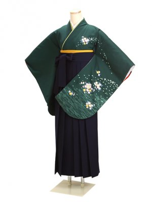 卒業式袴 グリーン 桜 0240 紺袴【身長170cm位】