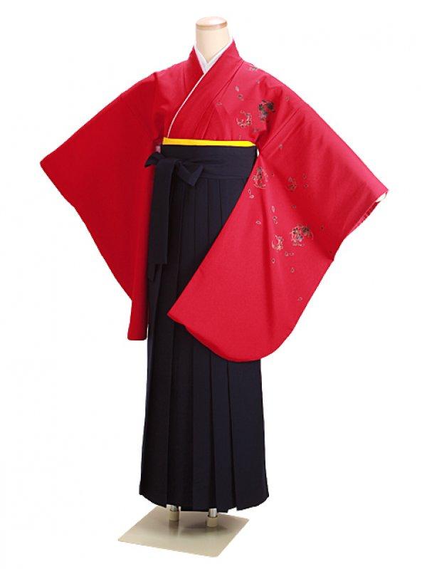 卒業式袴 赤 桜 0226 紺袴【身長155cm位】