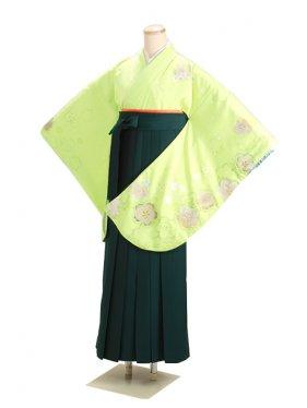 卒業式袴 グリーン 桜 0276【身長150cm位】