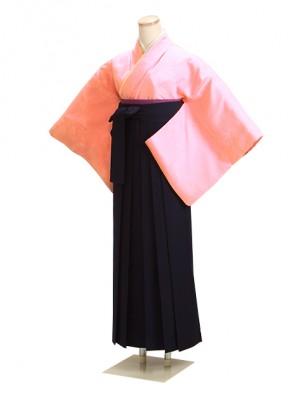 卒業式袴 正絹 ピンク 57 紺袴【身長150cm位】