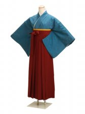 卒業式袴 正絹 ブルー 23【身長150cm位】
