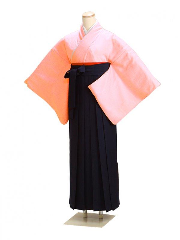 卒業式袴 正絹 ピンク 65 紺袴【身長155cm位】