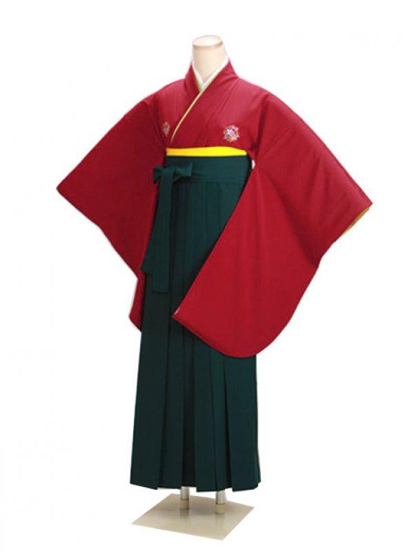 卒業式袴 赤 0216 緑袴【身長150cm位】