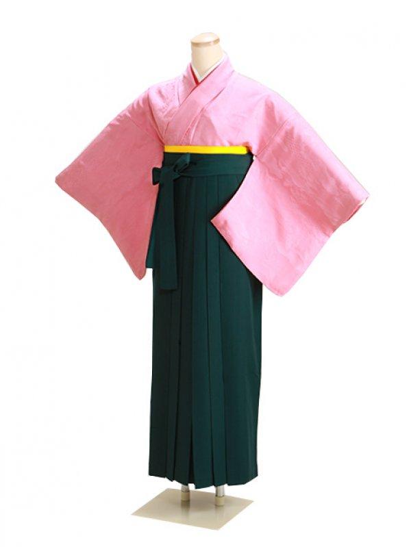 卒業式袴 正絹 ピンク 59 緑袴【身長150cm位】