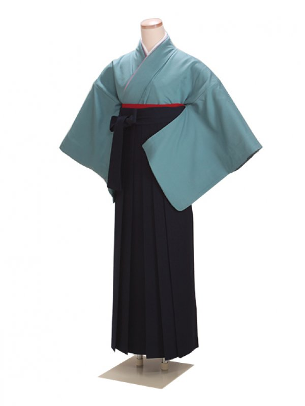 卒業式袴 正絹 青グレー 85 紺袴【身長155cm位】