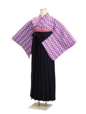 卒業式袴 矢がすり 紫 14【身長155cm位】