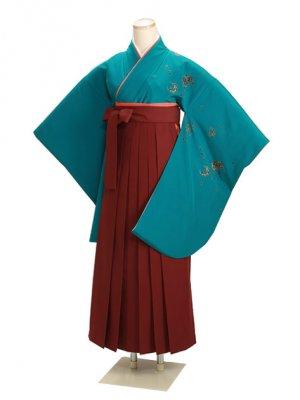 卒業式袴 グリーン 桜 0224 エンジ袴【身長155cm位】