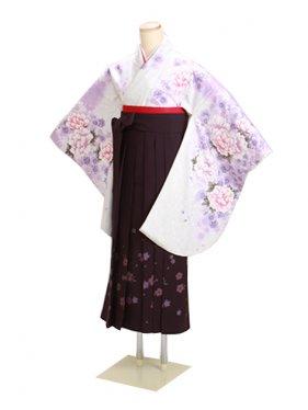 卒業式袴 白 ぼたん桜 0290【身長155cm位】