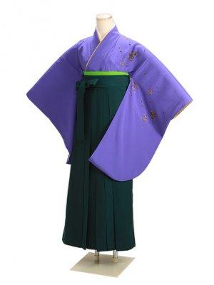 卒業式袴 紫 桜 0222 緑袴【身長150cm位】