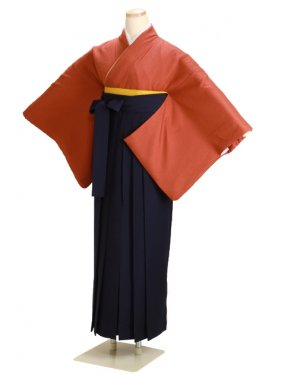 卒業式袴 正絹 レンガ 76【身長150cm位】