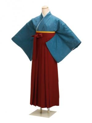 卒業式袴 正絹 ブルー 23 エンジ袴【身長165cm位】