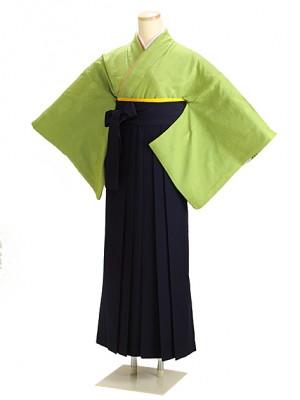 卒業式袴 正絹 ウグイス 56 紺袴【身長165cm位】