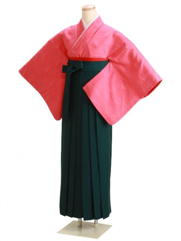 卒業式袴 正絹 ピンク 33 緑袴【身長145cm位】