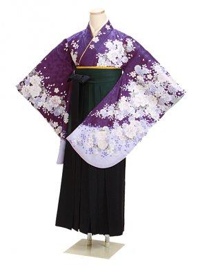 卒業式袴 紫 ぼたん桜 0291 柄袴【身長155cm位】