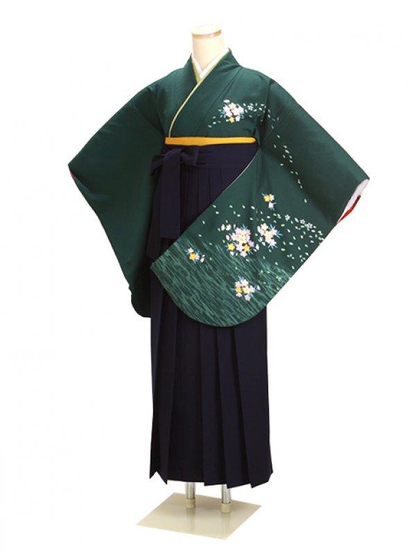 卒業式袴 グリーン 桜 0240 紺袴【身長160cm位】