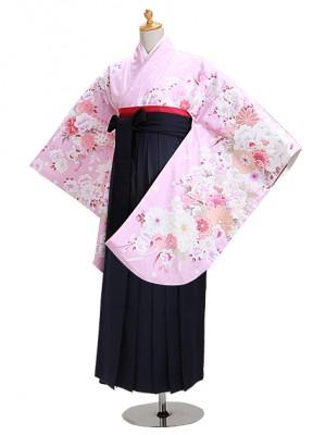 卒業式袴 ピンク 花 0301 紺袴【身長150cm位】