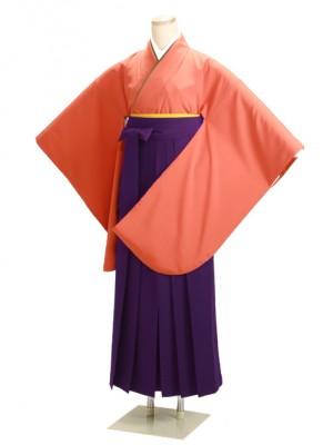 卒業式袴 オレンジ 0204 紫袴【身長150cm位】