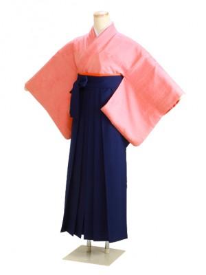 卒業式袴 正絹 ピンク 36 花紺袴【身長150cm位】