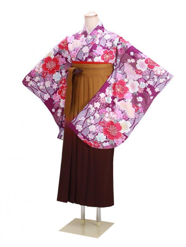 卒業式袴 紫 桜 0296【身長160cm位】