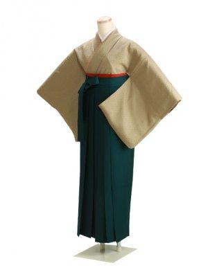 卒業式袴 正絹 黄土色 77 緑袴【身長160cm位】
