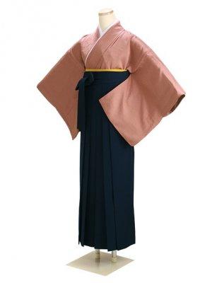 卒業式袴 正絹 茶 88 紺袴【身長160cm位】