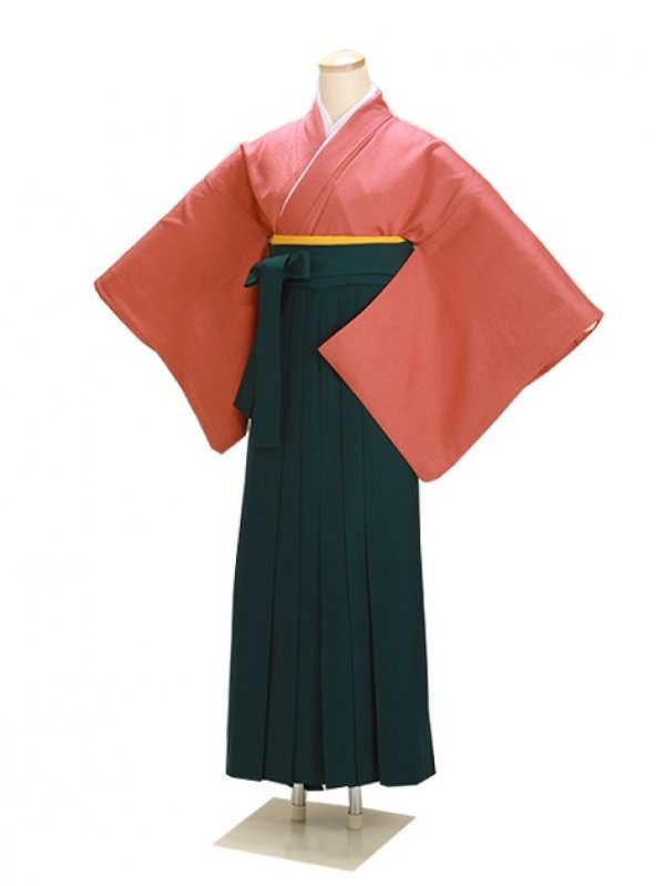 卒業式袴 正絹 レンガ 81 緑袴【身長160cm位】
