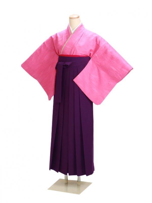 卒業式袴 正絹 ピンク 32 紫袴【身長150cm位】