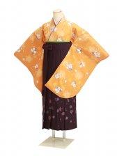 卒業式袴 オレンジ 桜 0281【身長155cm位】