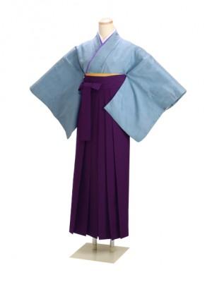 卒業式袴 正絹 ブルー 52 紫袴【身長155cm位】