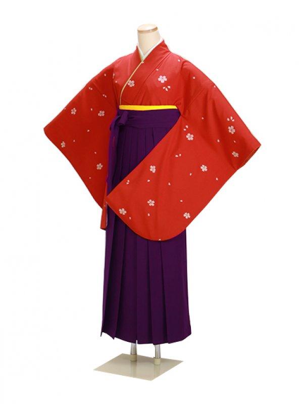 卒業式袴 オレンジ 小桜 0230【身長150cm位】