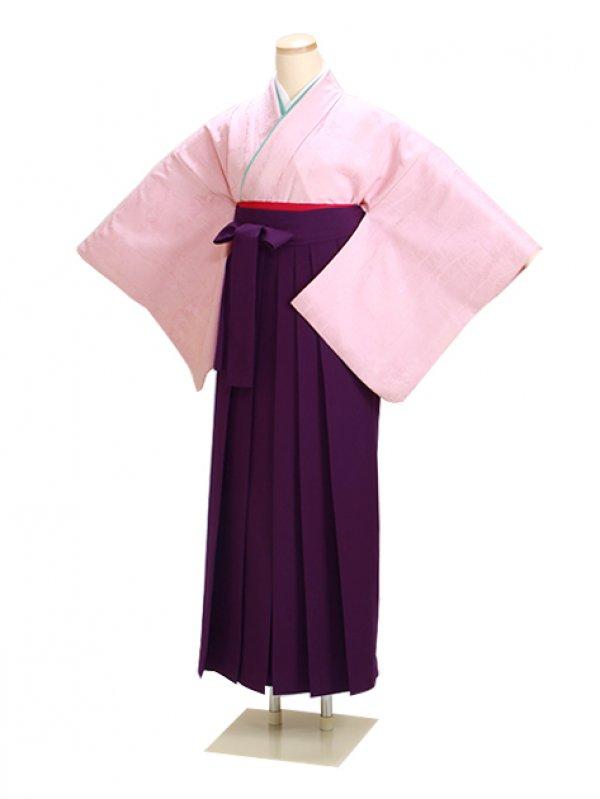 卒業式袴 正絹 濃ピンク 35 紫袴【身長155cm位】