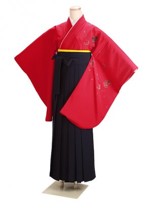 卒業式袴 赤 桜 0233 紺袴【身長160cm位】