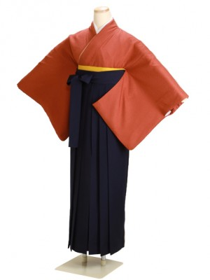 卒業式袴 正絹 レンガ 76 紺袴【身長165cm位】