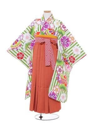 小学生卒業式袴 (女児)緑地花柄×オレンジ0003