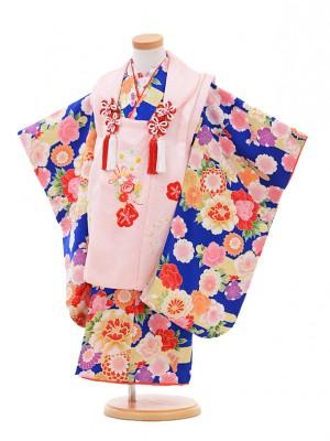 七五三レンタル(3歳女の子被布)3254正絹ピンク×ブルー花
