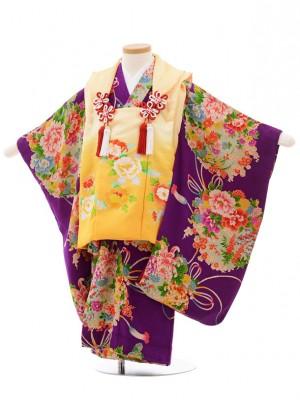 七五三(3歳女子被布) 3513 アンティーク オレンジ×紫 薬玉