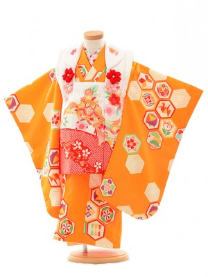 七五三レンタル(3歳女の子被布)3185和がまま白×オレンジ