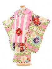 七五三(3女被布)3160 ジャパンスタイル ピンク縞と