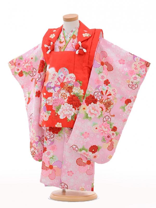 七五三レンタル(3歳女の子被布)3224赤×ピンク鼓花