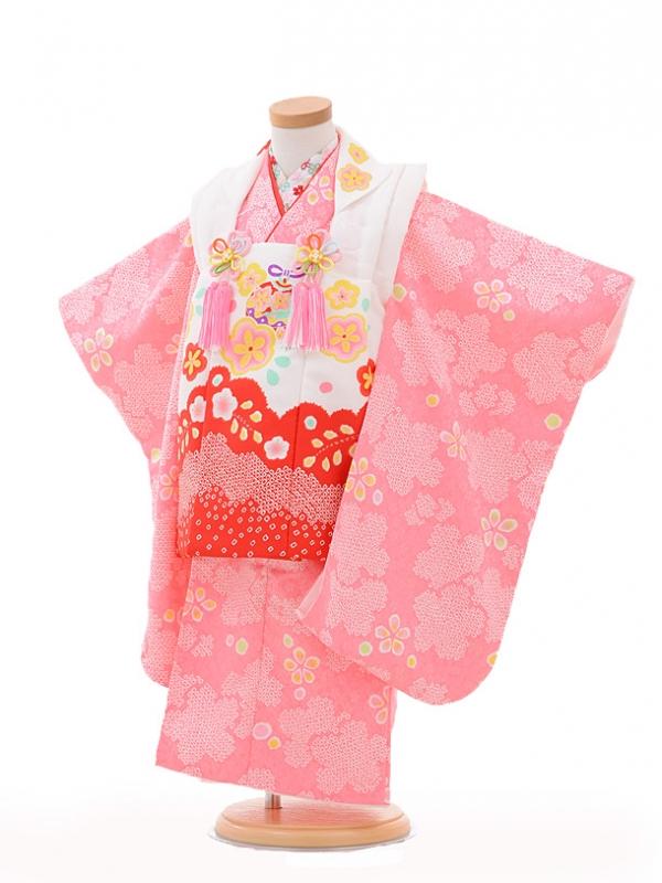 七五三レンタル(3歳女の子被布)3200白裾赤×ピンク桜