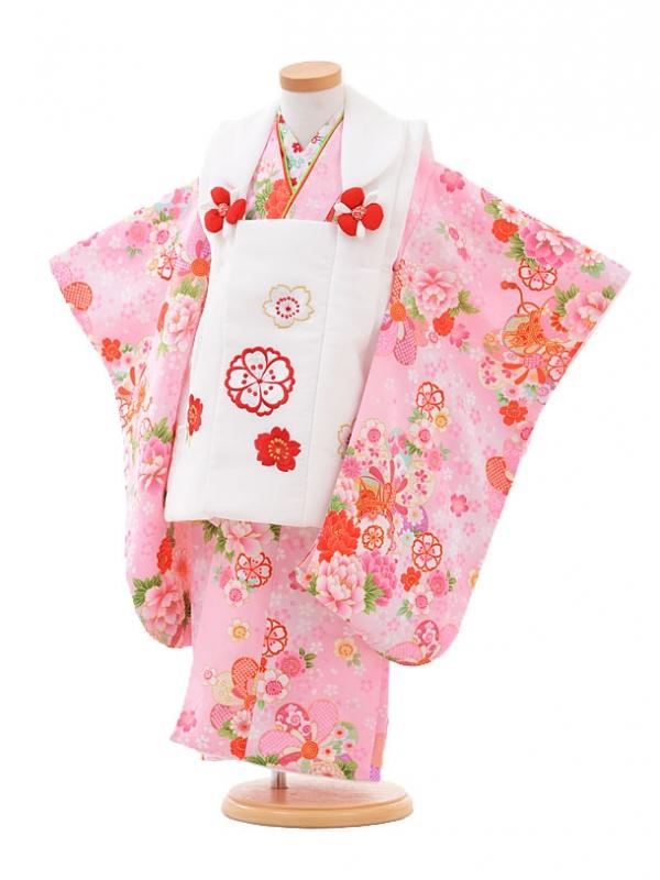 七五三(3歳女被布)3259白×ピンク花に鼓